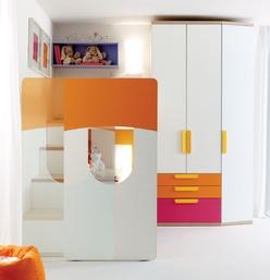 Cameretta letto a soppalco angolo scorrevole 939 arredamento cucine moderne ernestomeda - Letto a soppalco scorrevole ...